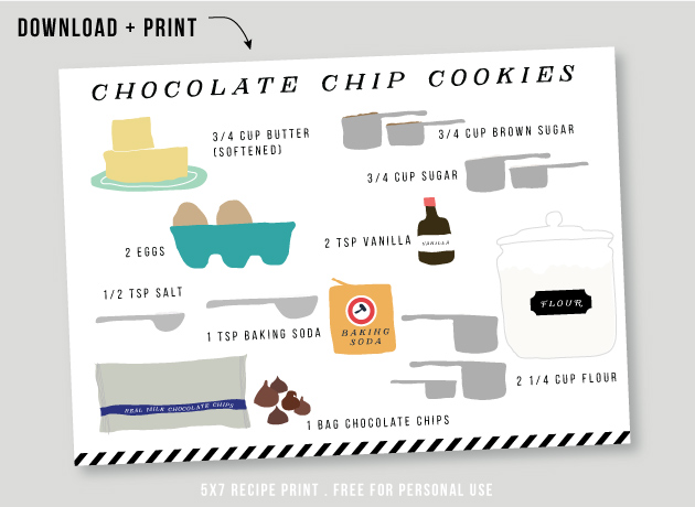download + print this free chocolate chip cookie ingredient illustration / jones design company