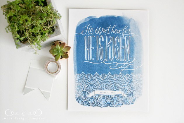 he is risen free easter art print / jones design company