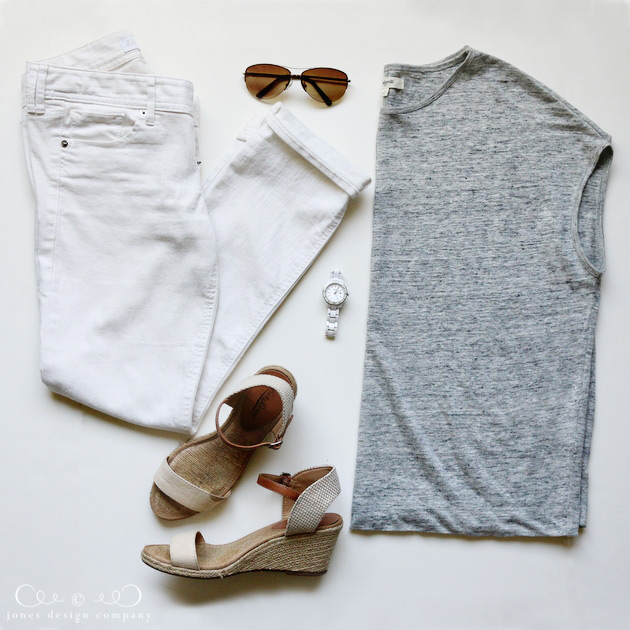 8 favorite outfits for summer - white jeans, gray linen tee + wedges / jones design company