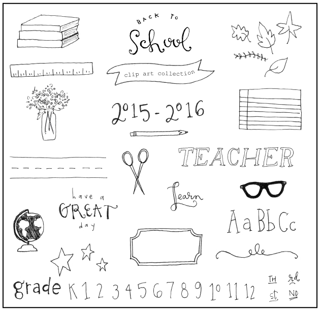 free hand-drawn back to school clipart / jones design company