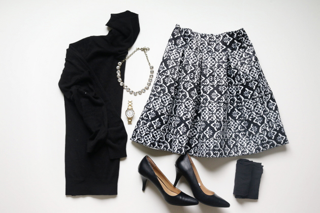 5 Festive Looks for Holiday Parties OUTFIT ONE: skirt + classic black turtleneck, black tights, heels and sparkly necklace / jones design company