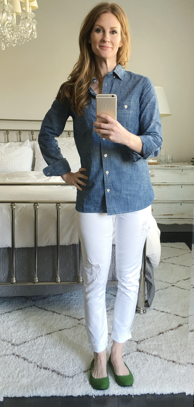 Six Casually Classic Looks for Spring / Jones Design Company - chambray shirt, white jeans, green flats
