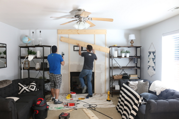 My little sister 39 s house builder grade fireplace makeover for Home depot sister companies
